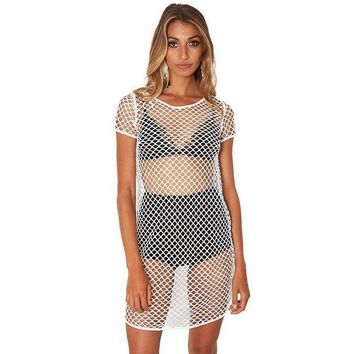 ESB1ON 2017 Mesh Fabric Summer Dress Women Perspective Fashion Solid White Mini Sexy Club Vestidos punk rock gothic