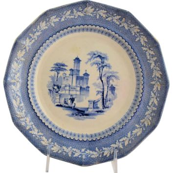 Antique Staffordshire Transferware Plate Light Blue Romantic Water Scene