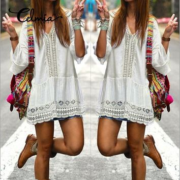 Celmia Vestidos 2017 Boho Women Summer White Dress Sexy Casual V Neck 3/4 Flare Sleeve Lace Crochet Loose Short Beach Dresses