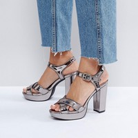 London Rebel Glitter Platform Sandal at asos.com