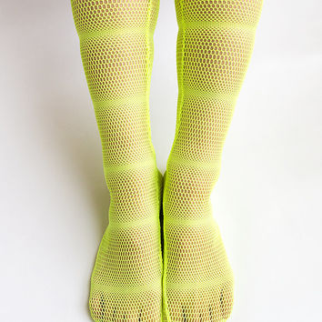 Women New Hezwagarcia Unique Super Mesh Neon Yellow See Through Nylon Spandex Socks Hosiery