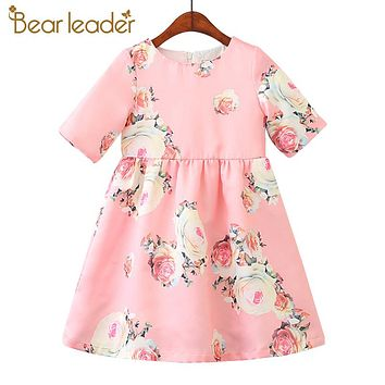 Girls Dresses Princess Clothing Printing Flower Short sleeve Sweet Dresses Baby Girls