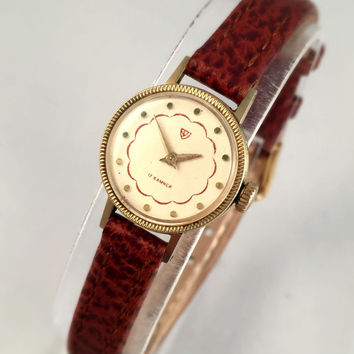 """Elegant mini women's wristwatch """" Chaika"""". Gorgeous tiny, gold tone women's watch with leather band, great gift idea for her"""