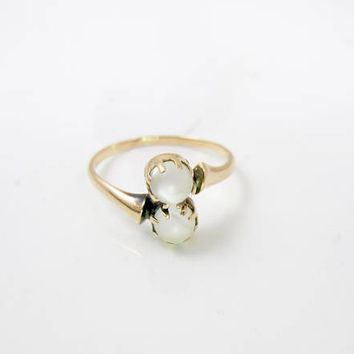 Antique Victorian Moonstone Ring. 10K Rose Gold. Two Moonstone Orbs. Toi Et Moi Ring. Victorian Engagement Ring