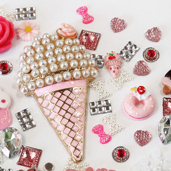 Y9- DIY 3D Bling Cell Phone Case Deco Kit: Pink and Matching Color Pearls, Rhinestones and Gems