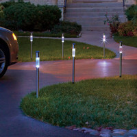 Set of 6 Solar Lighted Driveway Markers Outdoor Path Lighting Yard Garden Decor