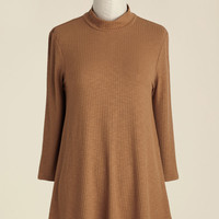 Curious Commentary Knit Top in Caramel | Mod Retro Vintage Short Sleeve Shirts | ModCloth.com