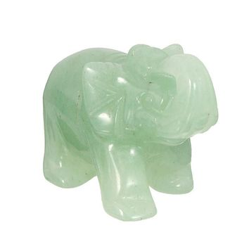 Elephant Stone Figurine Natural Hand-Carved Green Aventurine