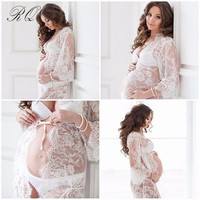 RQ  Fashion Maternity Photography Props Cotton Maternity Clothes Lace pregnant Clothes Lace Crochet maternity dress Q20