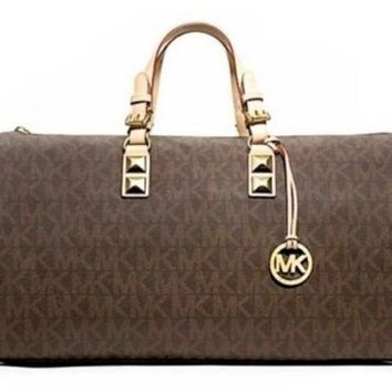 8d1a1b1b4932 MICHAEL KORS GRAYSON DUFFLE BAG BROWN MK SIGNATURE WEEKENDER PVC OVERNIGHT  TRAVEL SATC