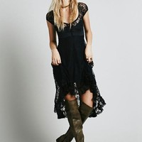 Sheer Black or White Lace Hi Lo Dress