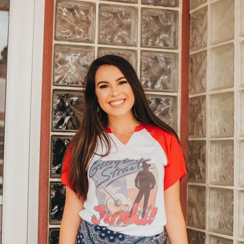 "Gina ""George Strait Junkie Picture"" 3/4 Red Tee"