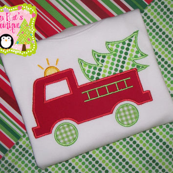 Christmas applique shirt- Holiday applique shirt- Christmas firetruck- Firetruck applique shirt