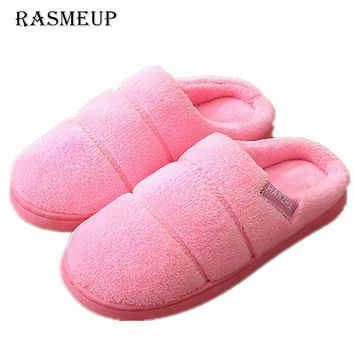 RASMEUP Women Cotton Indoor Slippers Winter Warm Plush Fashion Women's Indoor Slippers With Non-slip Soft Outsole Shoes