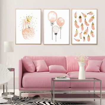 Pink Flamingo Unframed Watercolor Girl's Canvas Painting