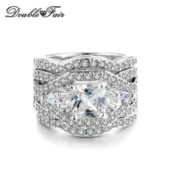 Double Fair Brand Cubic Zirconia Three Rounds Rings Sets Engagement CZ Stone Ring Set Fashion Jewelry For Women Wholesale DFR643