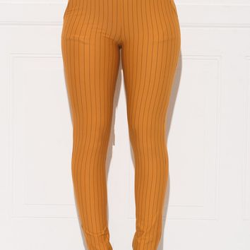 Rebecca Striped Pants - Dark Mustard