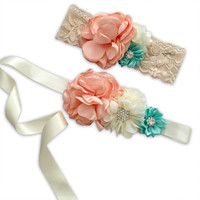 Peach & Mint Sash Set