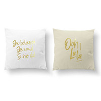 SET of 2 Pillows, She Believed She Could So She Did, Ooh La La!, Nursery Decor, Throw Pillow, Kids Pillow, Cushion Cover, Gold Pillow