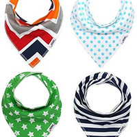 Matimati Baby Bandana Drool Bibs, Unisex 4-Pack Absorbent Cotton, Cute Baby Gift for Boys & Girls (Arrow & Triangles Set)