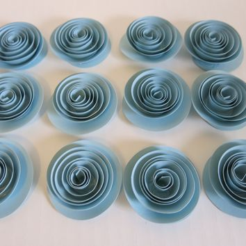 """12 Light Blue Paper Flowers small 1.5"""" Roses table decorations Bridal Shower Decor"""