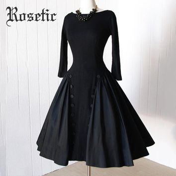 Rosetic Women Vintage Gothic Style Black Color Autumn Long Sleeve Backless Button Long Dress