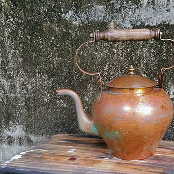 Vintage Villedieu Extra Large Copper Tea Kettle Made in France