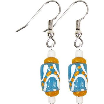 Hand Painted Recycled Glass Bead Earrings Light Blue