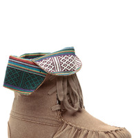 Taupe Tribal Town Lace Up Moccasin Boots