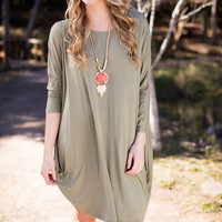 Caught In A Field Of Moss Green Flowy T-Shirt Dress