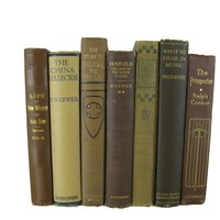 Brown Old Vintage Books for Styled Bookshelves, S/7