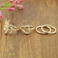 Gold Plated Leaf Heart Joint Knuckle Nail Ring Set of Four Rings INY66