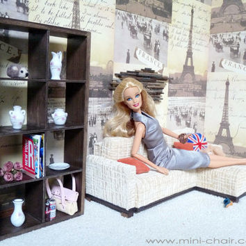 1/6 scale Modern Bookcase for dolls (Blythe, Barbie, BJD, Momoko)