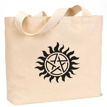 "Supernatural symbol Cotton Canvas Jumbo Tote Bag 18""w x 11""h"