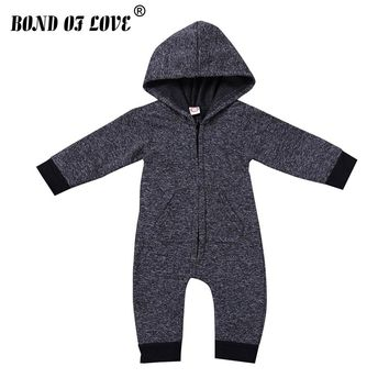 Spring Infant Romper 2018 Flannel Newborn Baby Boys Girl Clothing Solid Onesuit Jumpsuit Baby Custome New Born Kids Clothes