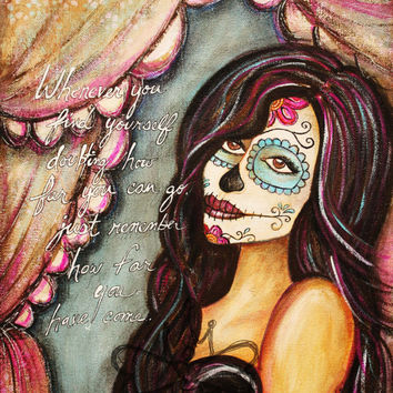 Dia De Los Muertos Art - Hope, Original Canvas