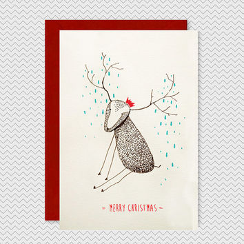 Cute Christmas Card - Hand drawn Reindeer red hat - Textured fun cute xmas greetings card