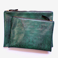 Emerald Green Snakeskin Portfolio Clutch Purse.Vegan Leather oversize Clutch