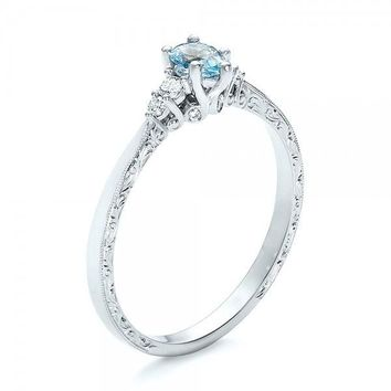 925 Sterling Silver 0.4CT Aquamarine 0.2CT White Topaz Wedding Ring