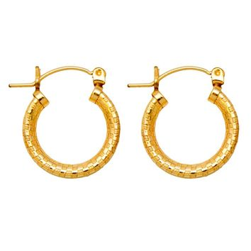 Gold-Filled Sterling Silver Patterned Click-Down Hoop Earrings (3mm Thick), All Sizes