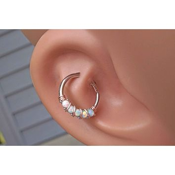 White Opal Daith Hoop Ring Rook Hoop Cartilage Helix
