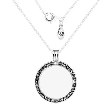 Necklaces & Pendants Choker Big Forever Floating Locket Pendant with Clear CZ DIY Sterling-Silver-Jewelry Silver 925 Pingente
