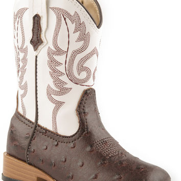Roper Infant Western Sqtoe Faux Leathr Sole Boots Brown Faux Ostrich W White Shaft