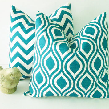"Decorative Pillows TURQUOISE 20"" Premier Prints Nicole Pillow Covers Chevron 20 inch Deep Teal Pillow set of TWO Feather IKAT"