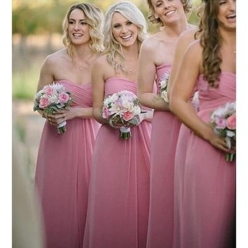 62008 strapless champagne party dress new fashion 2015 bridesmaid dresses long plus size maxi
