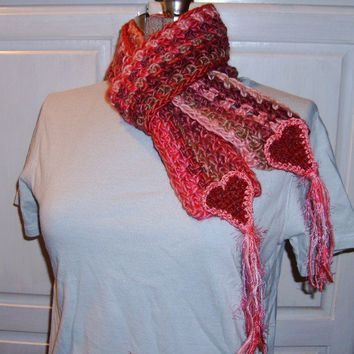 Crochet Scarf, Heart Smart, Freeform Handmade, pink red coral, Valentine for your sweetie