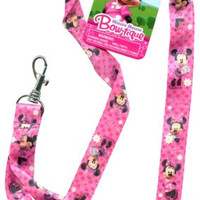 "Disney Minnie Mouse Pink Bowtique Pin Trading Keychain Lanyard 18"" by Disney"