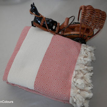 Burnt orange colour diamond patterned Turkish soft cotton blanket, double bed cover, bedspread, camping blanket, throw blanket.