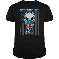Q Anon The Storm Is Here American Flag Skull