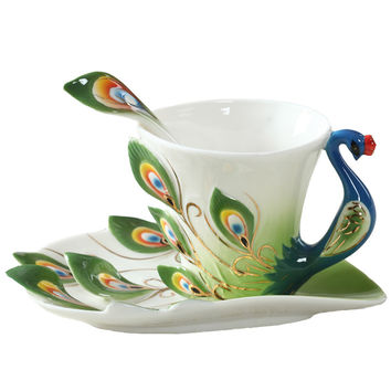 Colourful Peacock Coffee Cup Ceramic Porcelain Enamel Cups and Mugs Wedding Birthday Gift Creative Cup 175ml